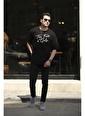 Oksit Crash Font Erkek Oversize Tshirt Siyah